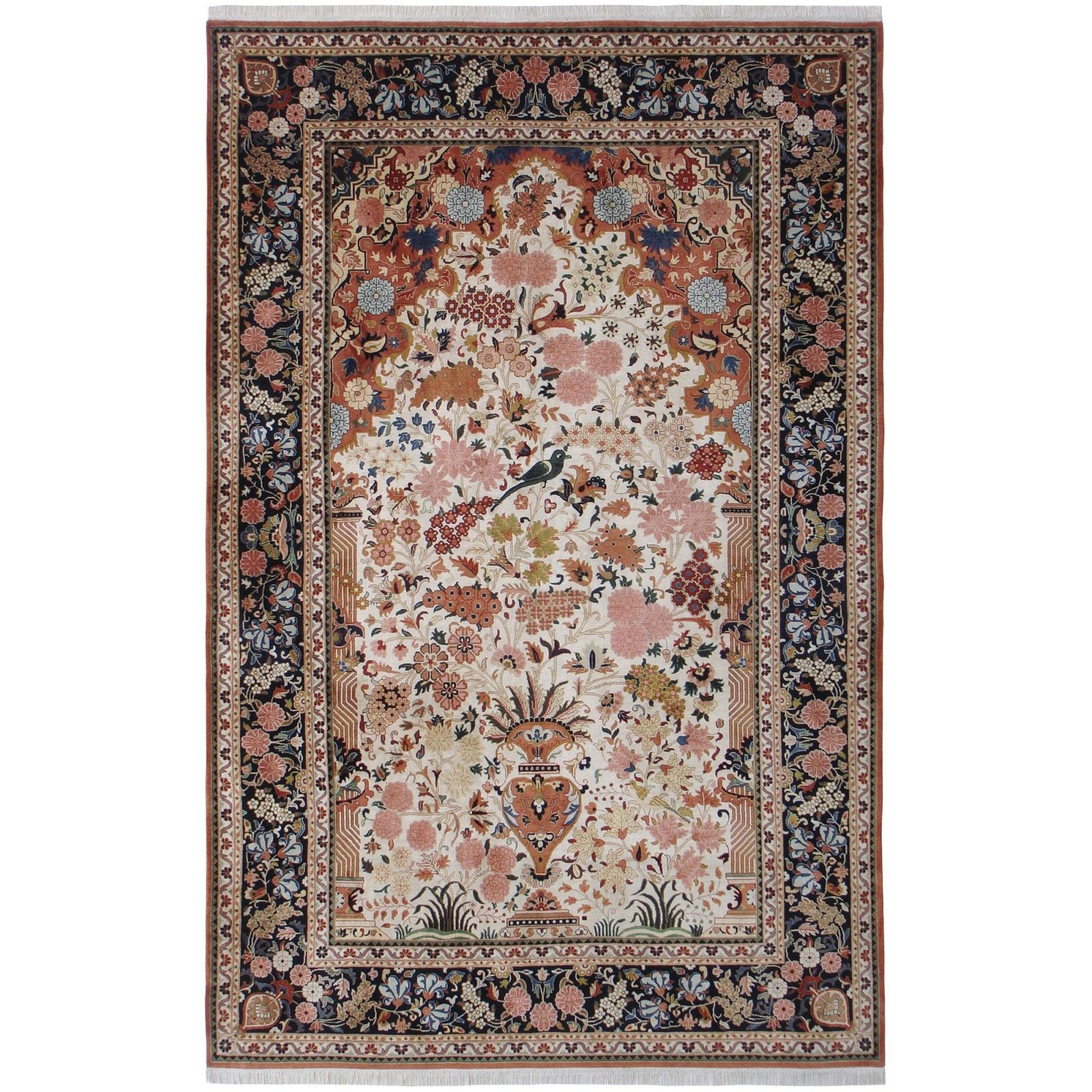 Kashan prayer design silk pile carpet