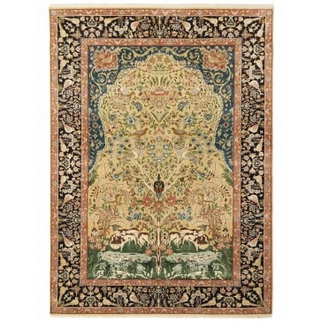 Kerman-Laver Tree of Life design silk pile carpet