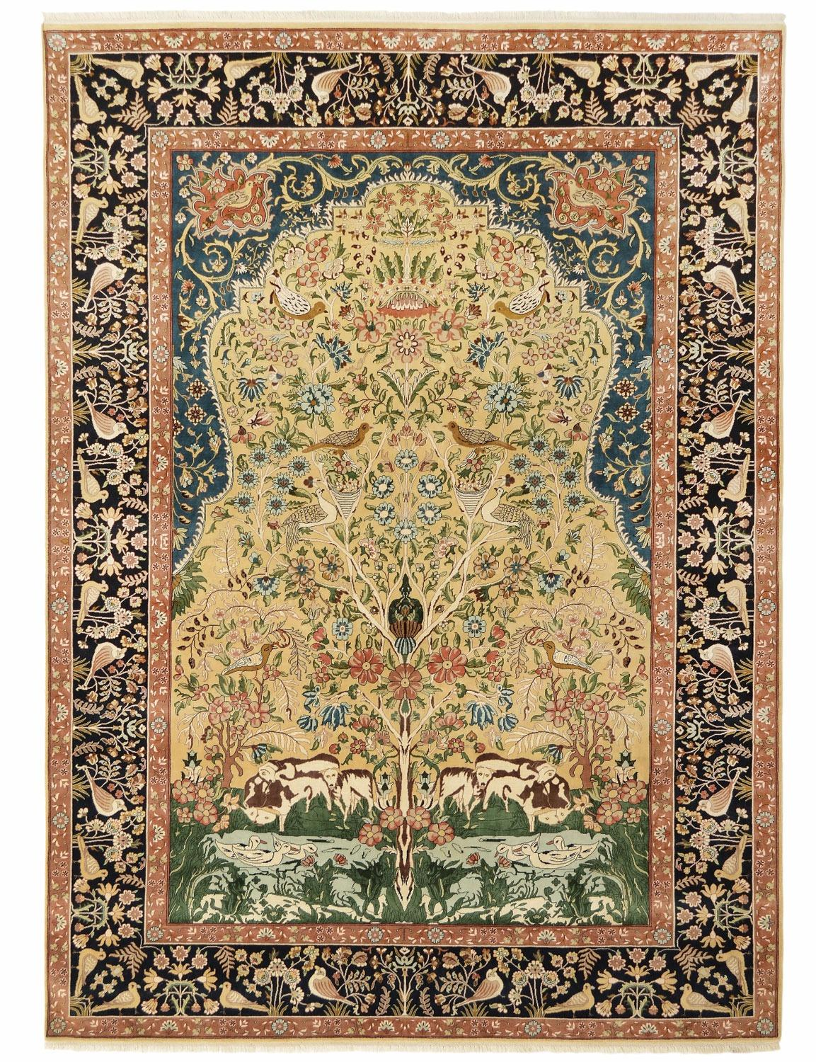 Kerman Laver Tree Of Life Design Silk Pile Carpet Silk