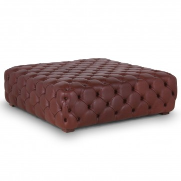 Large buttoned leather footstool