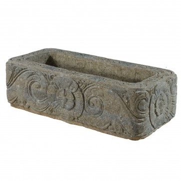 Large rectangular stone planter, hand carved