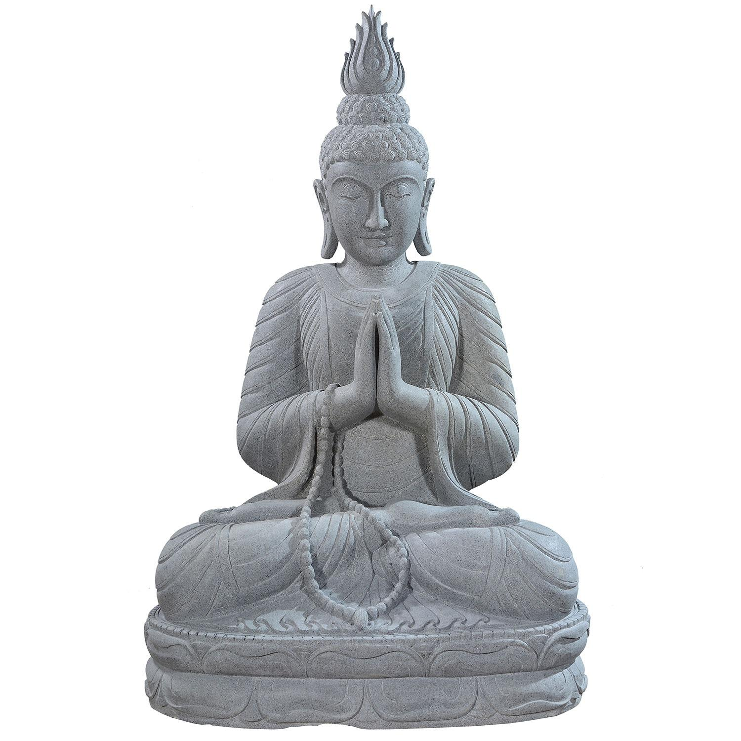 Large stone garden statue of a Buddha in full lotus position