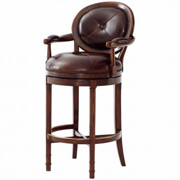 Leather swivel bar stool with backrest