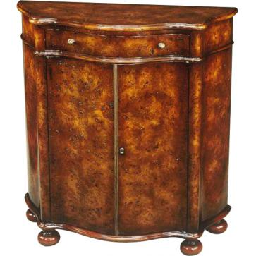 Louis XV style burl serpentine side cabinet