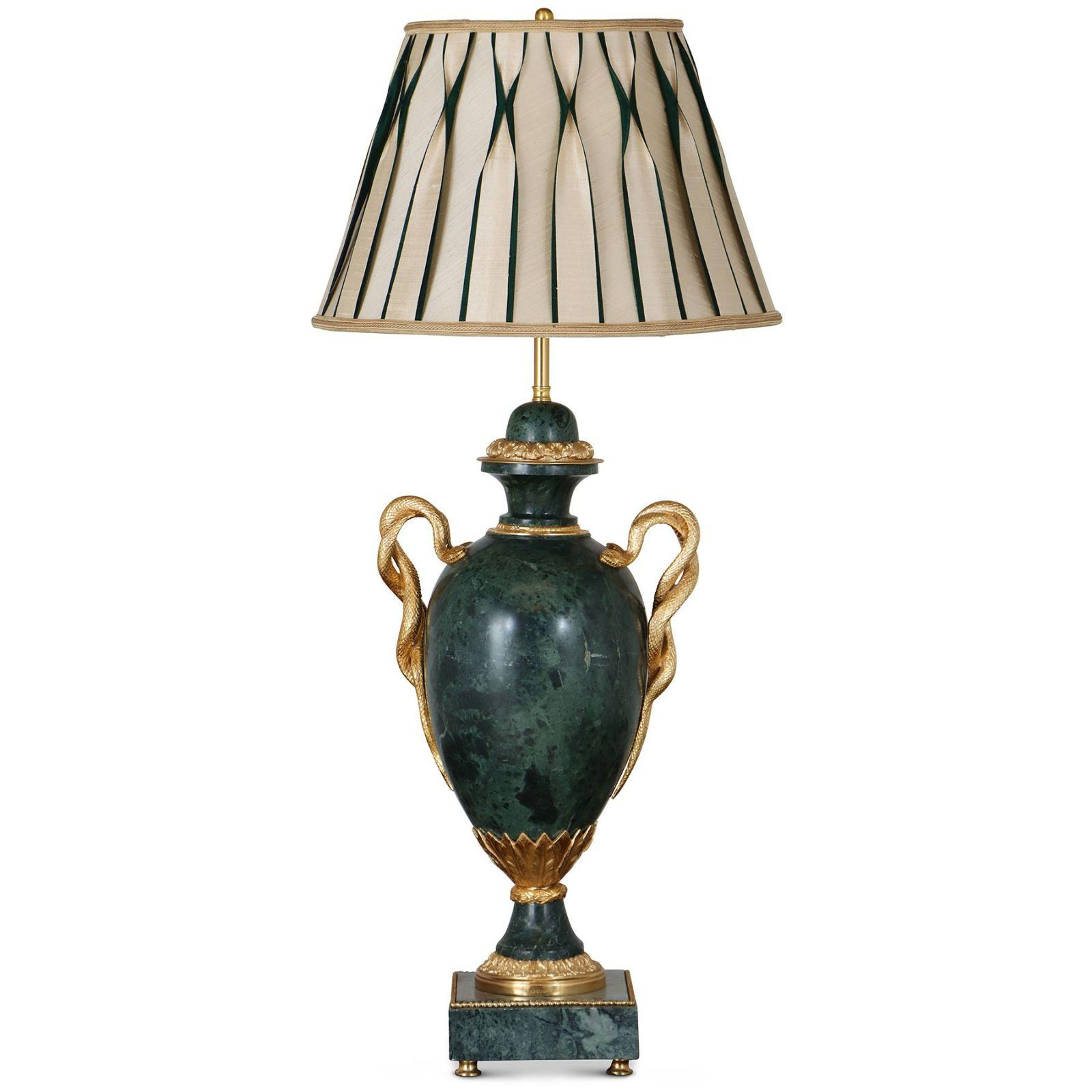 Louis XV style Green Marble table lamp