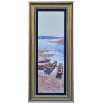 Low tide with beached fishing craft, framed oil painting
