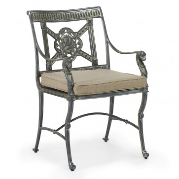 Luxor metal Outdoor dining arm chair with standard fabric seat cushion