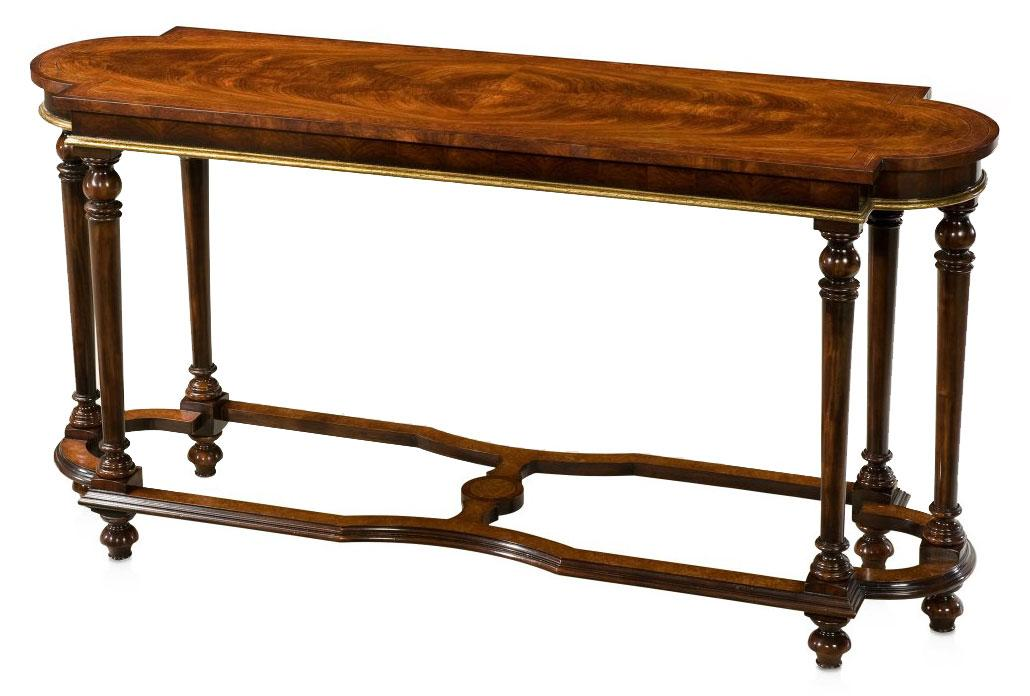 Mahogany and crossbanded console table