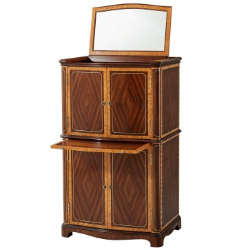 Mahogany and Etimoe Veneered Jewellery Cabinet