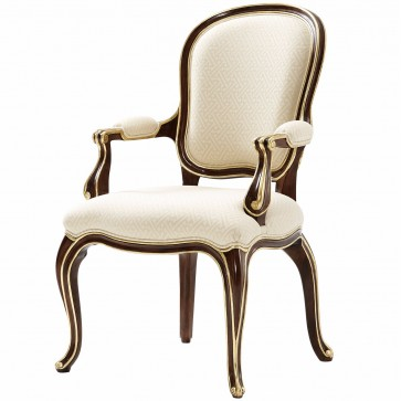 Mahogany arm chair in fabric seat and backrest