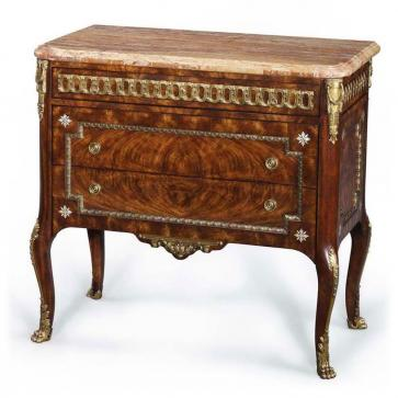 Mahogany chest of drawers with marble top