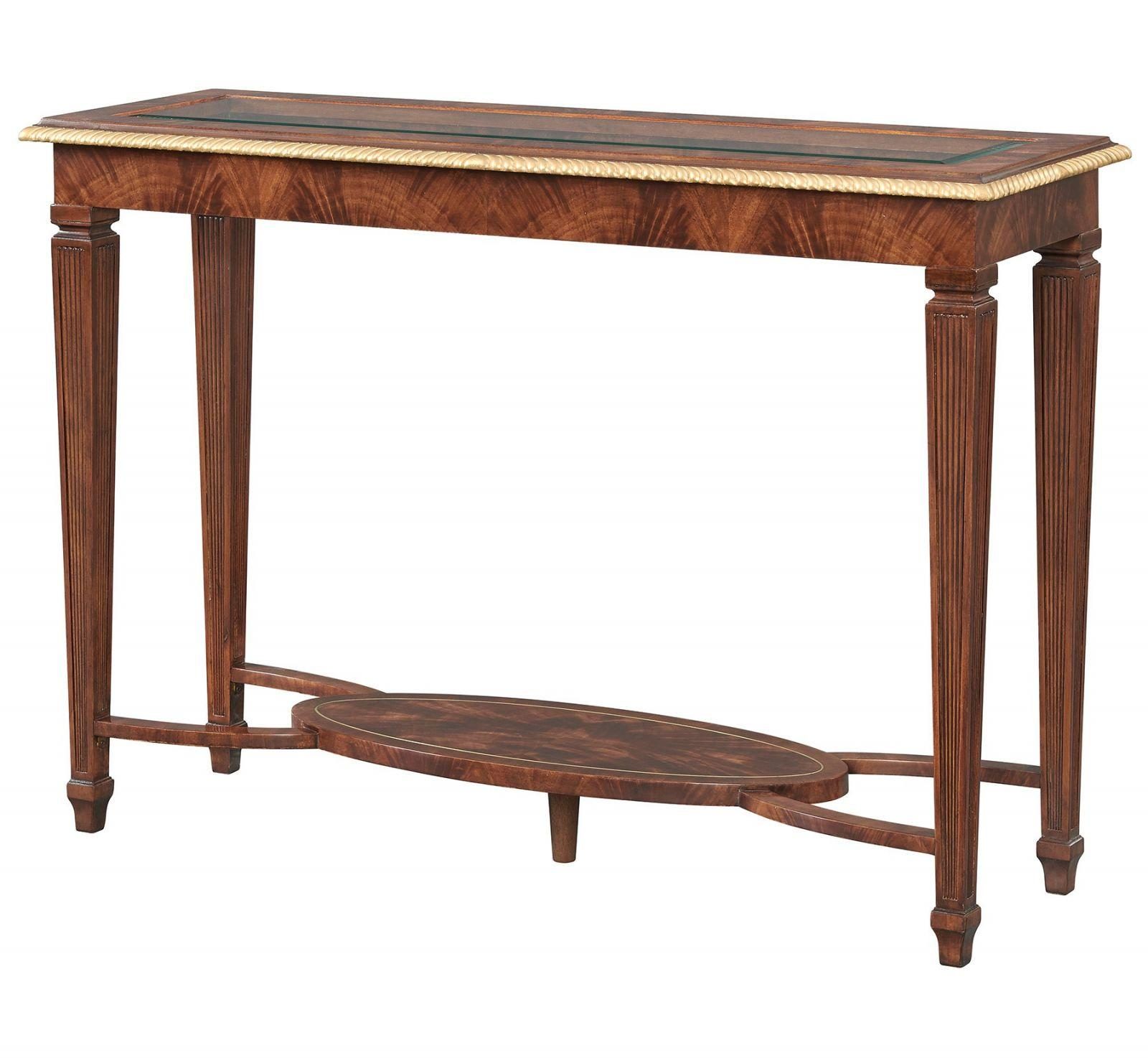 Mahogany console table with glass top