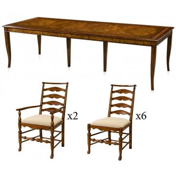 Mahogany dining set - Extending table with 8 chairs