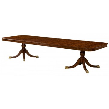 Mahogany extending dining table with self storing leaves