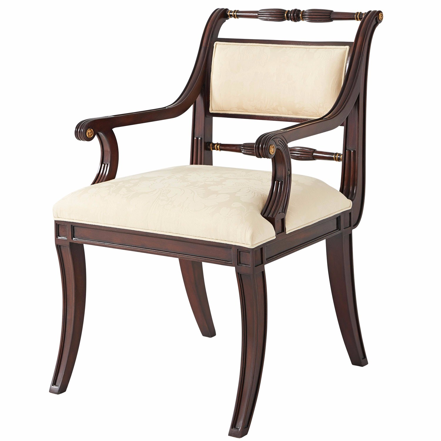 Mahogany hand carved dining armchair
