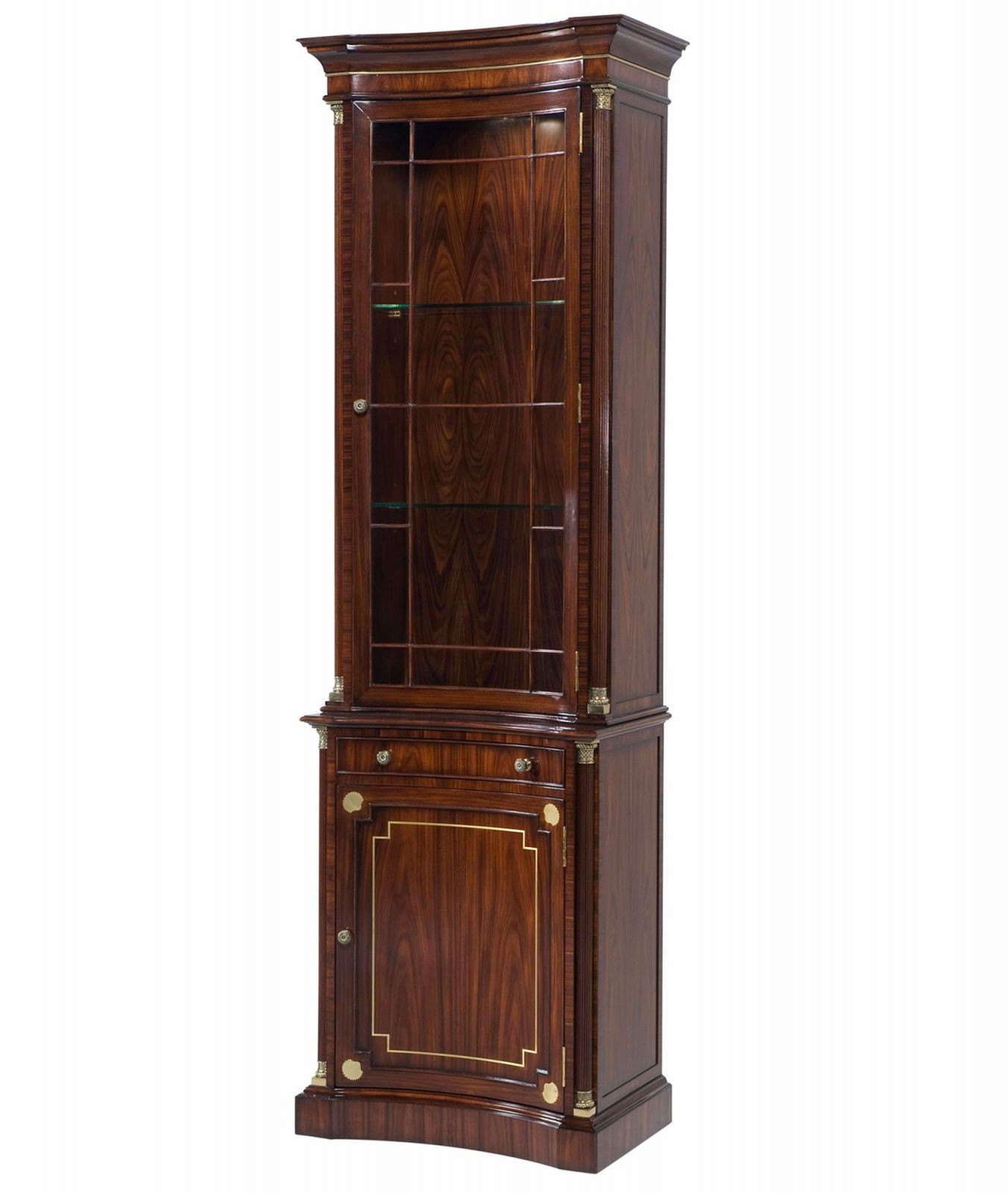 Mahogany narrow display cabinet