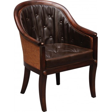 Mahogany scoop back library Bergere arm chair