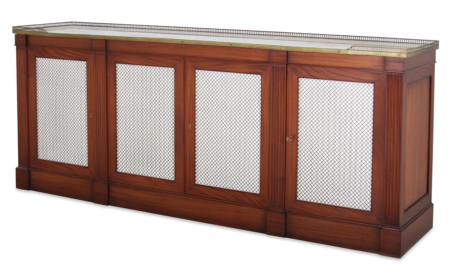 Mahogany side cabinet with brass grill doors