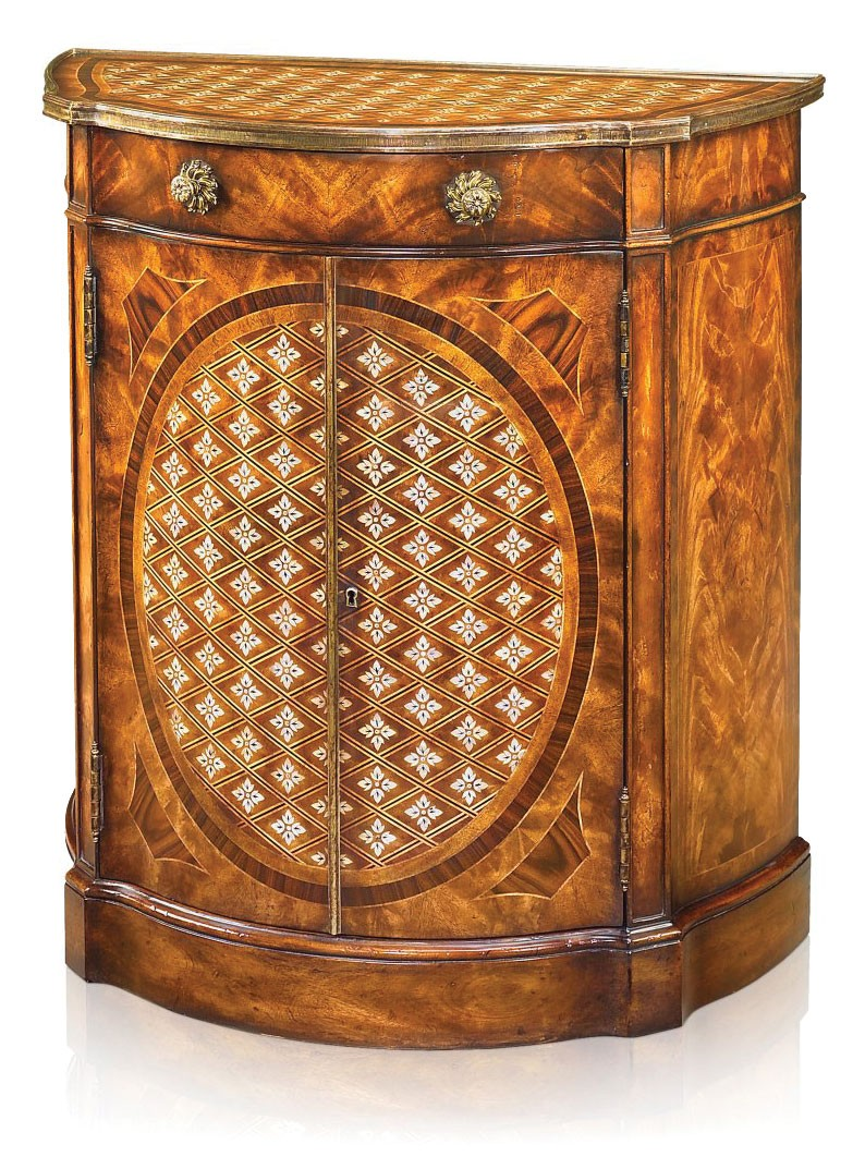Mahogany side cabinet with mother of pearl parquetry