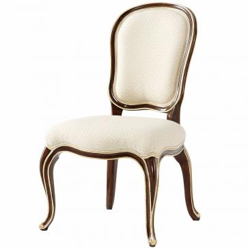 Mahogany side chair in fabric seat and backrest