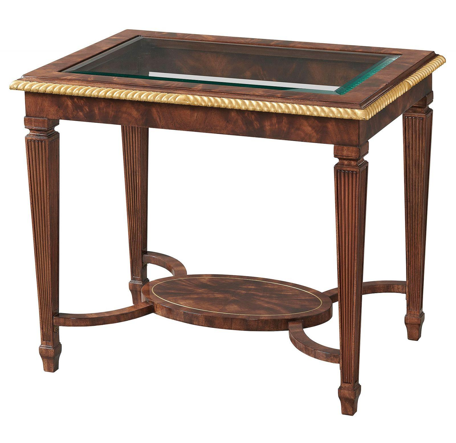 Mahogany side or lamp table with glass top