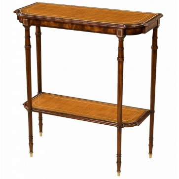 Mahogany, sycamore and brass strung console table
