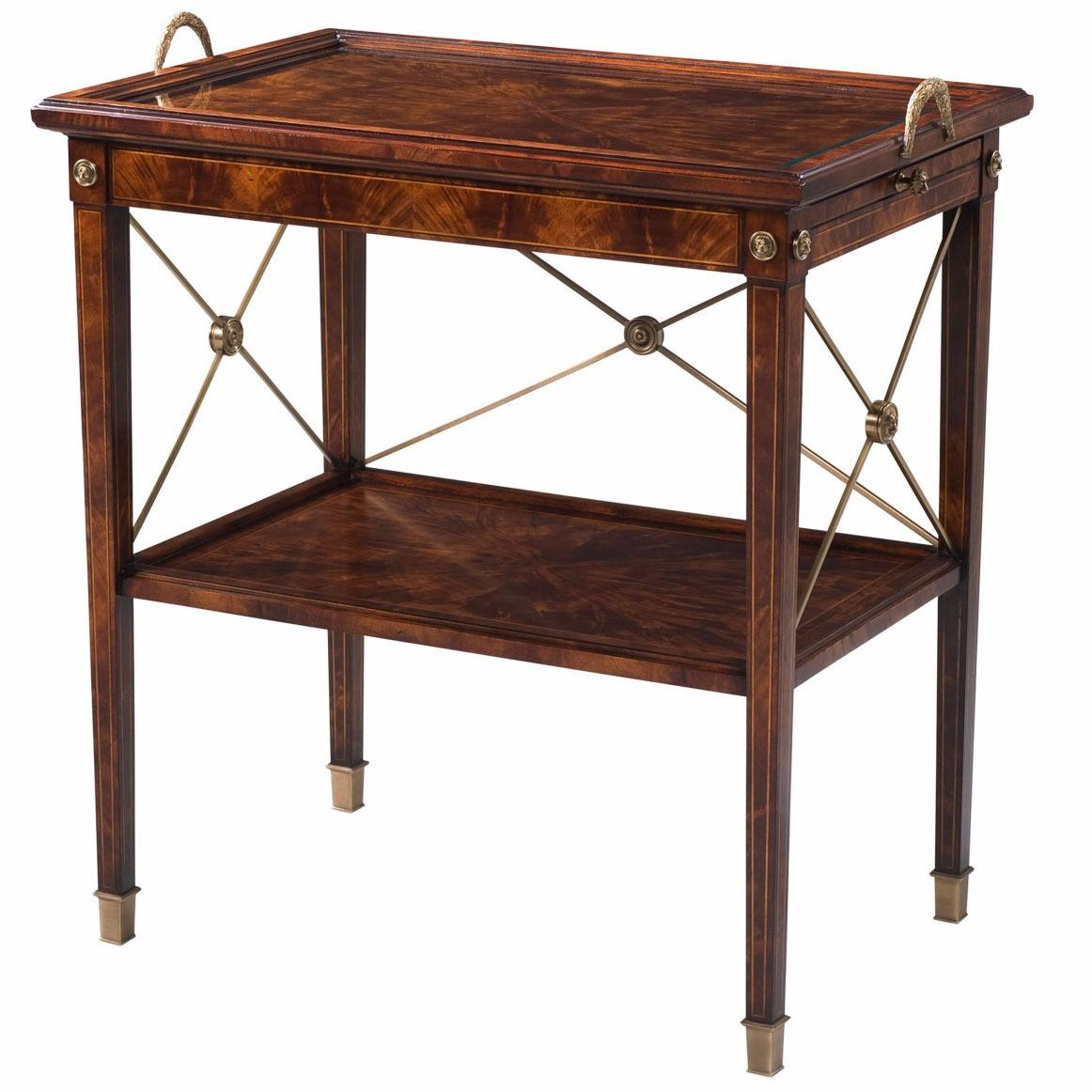 Mahogany two tier butlers tray table lamp side tables for Tray side table