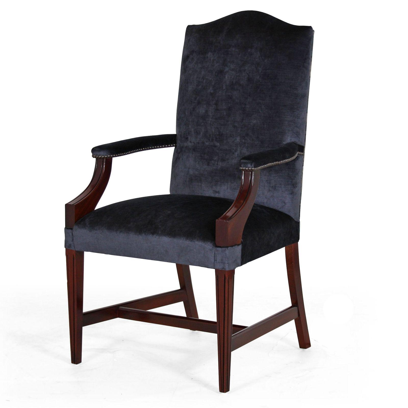 Mahogany upholstered back dining carver in Wemyss Kentia
