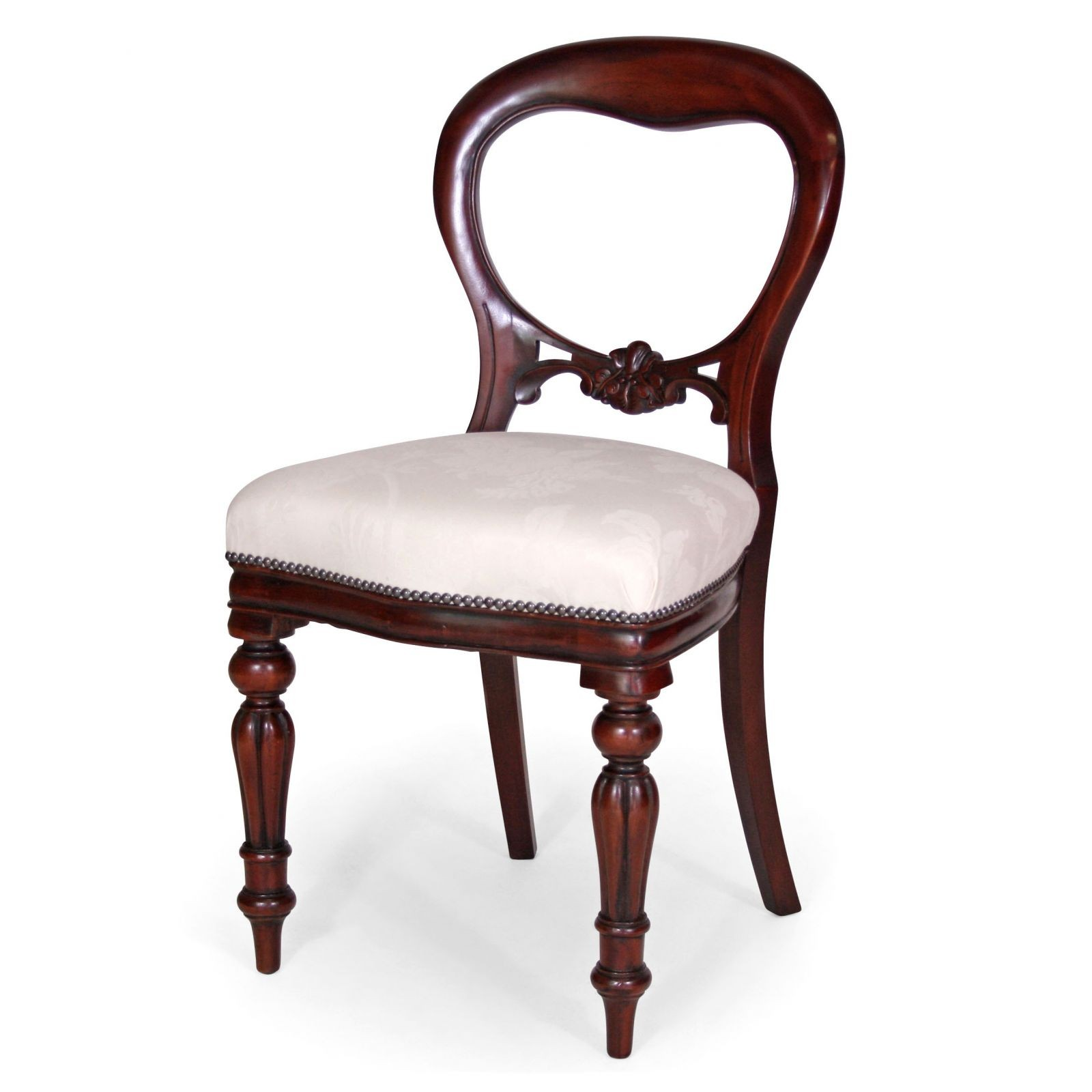 Mahogany Victorian style balloon back dining chair in champagne damask