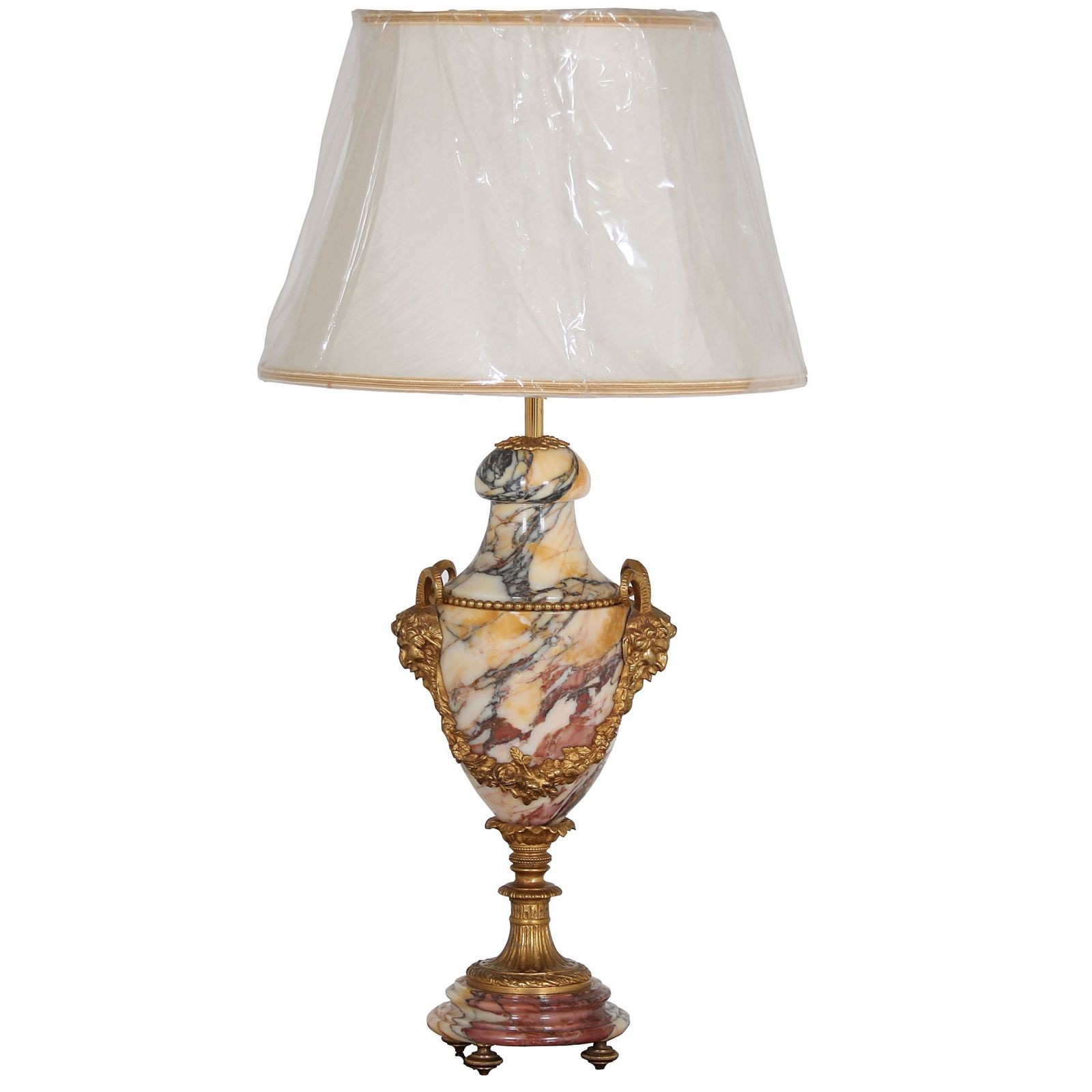 Marble table lamp with ormulu satyr