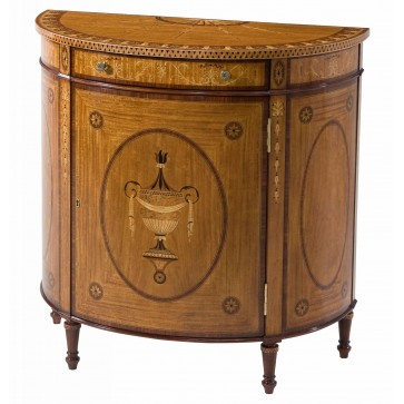 Marquetry inlaid demi lune side cabinet