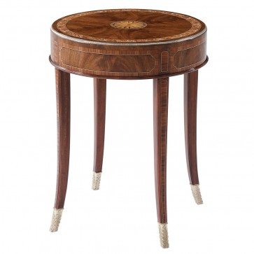 Marquetry Inlay round side table with mother of pearl