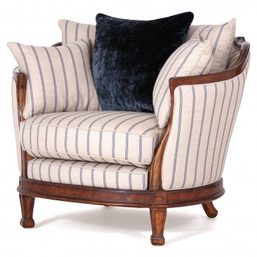 Mauretania Chair with fabric sides in blue Gabriel stripe