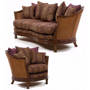 Mauretania sofa and chair in heather damask