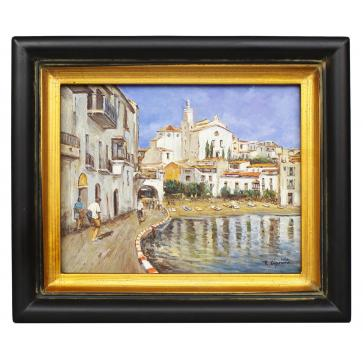 Mediterranean Harbour scene, framed oil painting