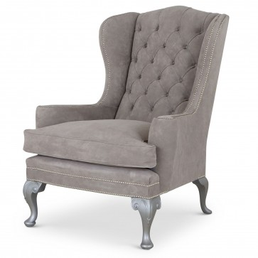 Melbury Grey Suede Wing Chair
