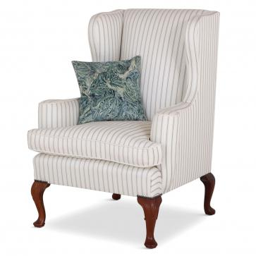 Melbury wing chair in grey ticking fabric