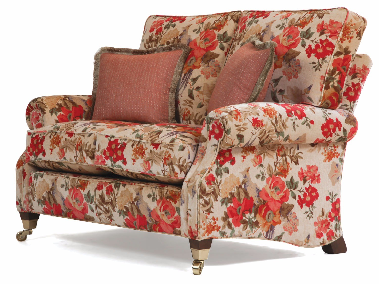 Monet 2 Seat Sofa In An Antiqued Velvet Print Fabric