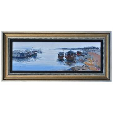 Moored vessels in the early evening, framed oil painting