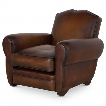 Moustache French Art Deco style club chair - Hand dyed hide