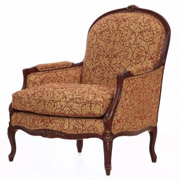 Naples chair in red and gold embroidered fabric