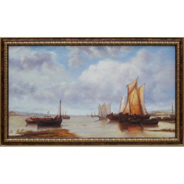 Near Cowes Isle Of Wight marine oil painting