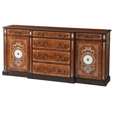 Neoclassical style mahogany sideboard with mother of pearl