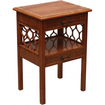 Night stand in flame mahogany with fretwork sides