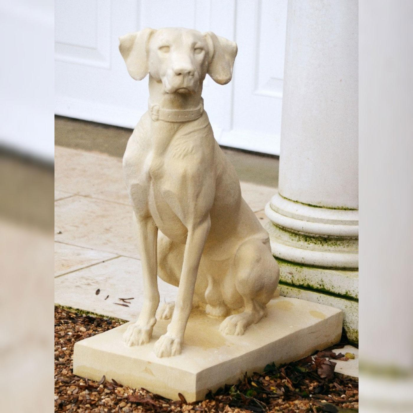 Noble hunting dog stone sculpture (LH facing) - Bath