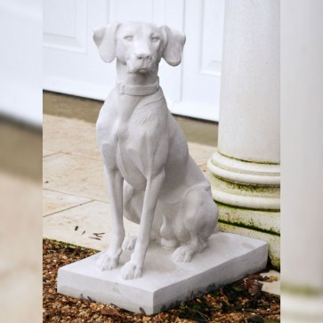 Noble hunting dog stone sculpture (LH facing) - Portland