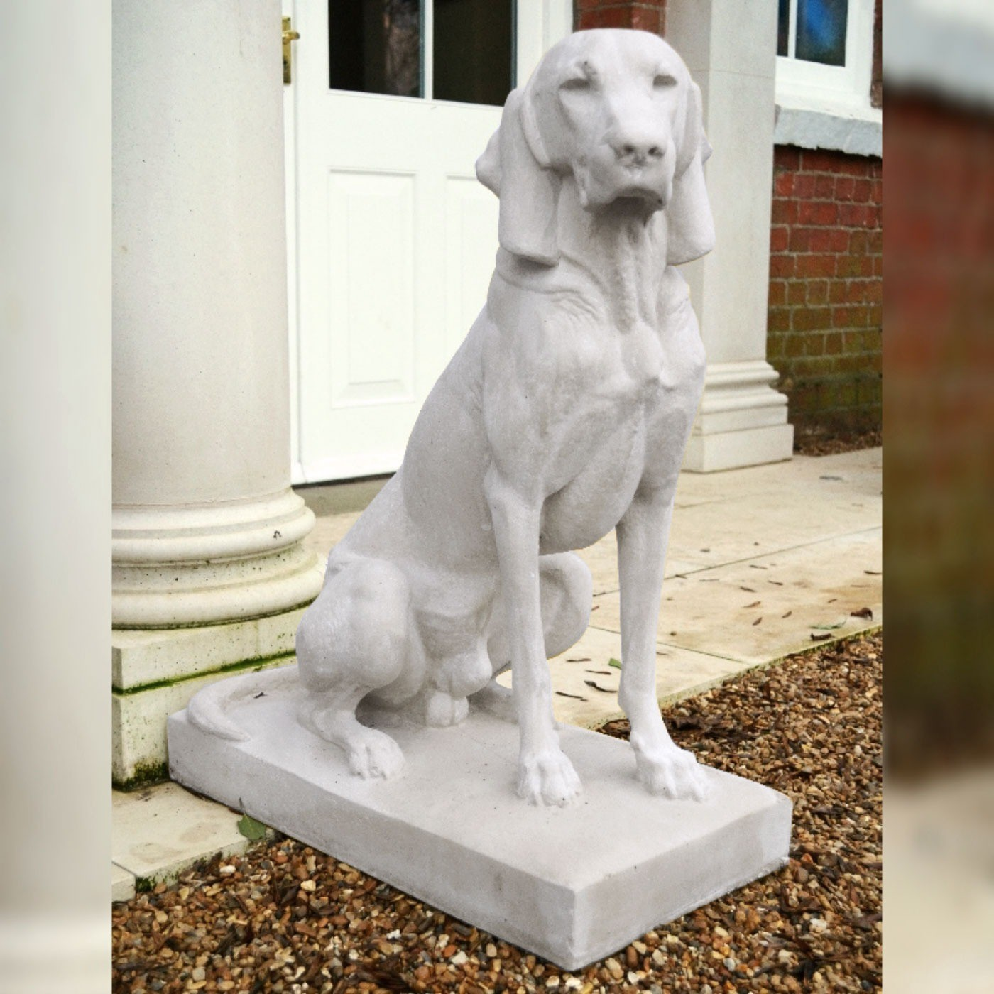 Noble hunting dog stone sculpture (RH facing) - Portland