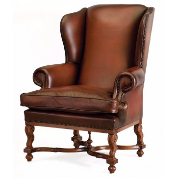 Oak hide wing chair