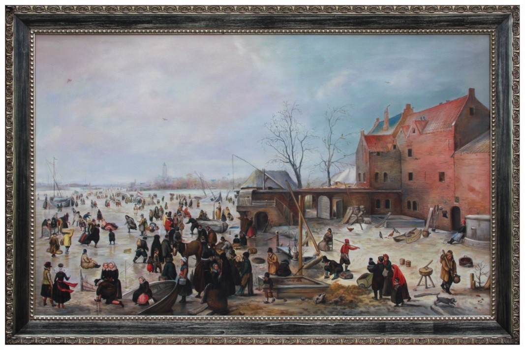 Oil painting after 'A Scene on the Ice near a Town' by Hendrick Avercamp