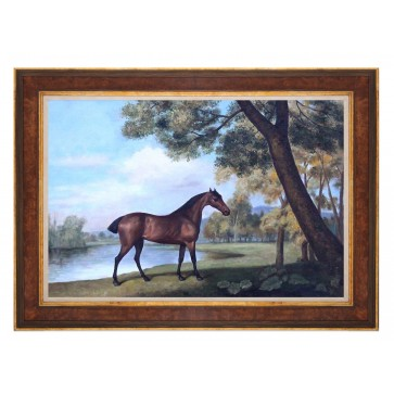 Oil Painting after 'Bay Hunter by a Lake' by George Stubbs